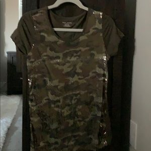DKNY Jeans camouflage sequined top- size Med